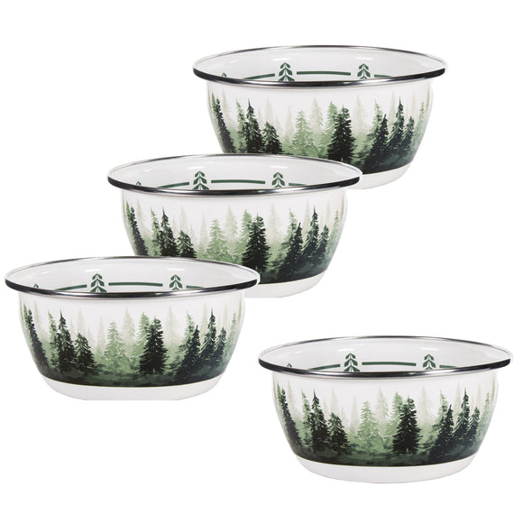 FG61 - Forest Glen Pattern - Enamelware Salad Bowl - by Golden Rabbit