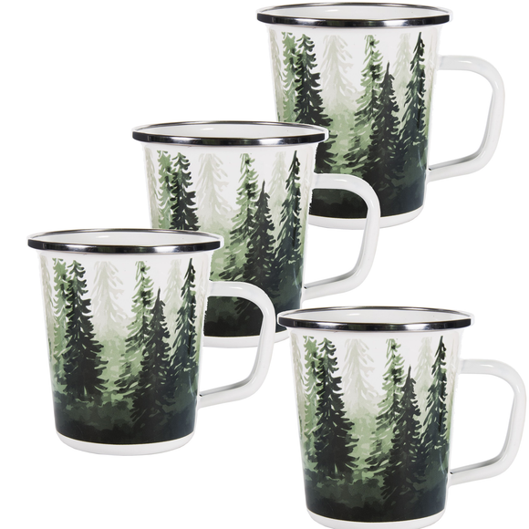 FG66S4 - Set of 4 - Forest Glen - Enamelware - Latte Mugs