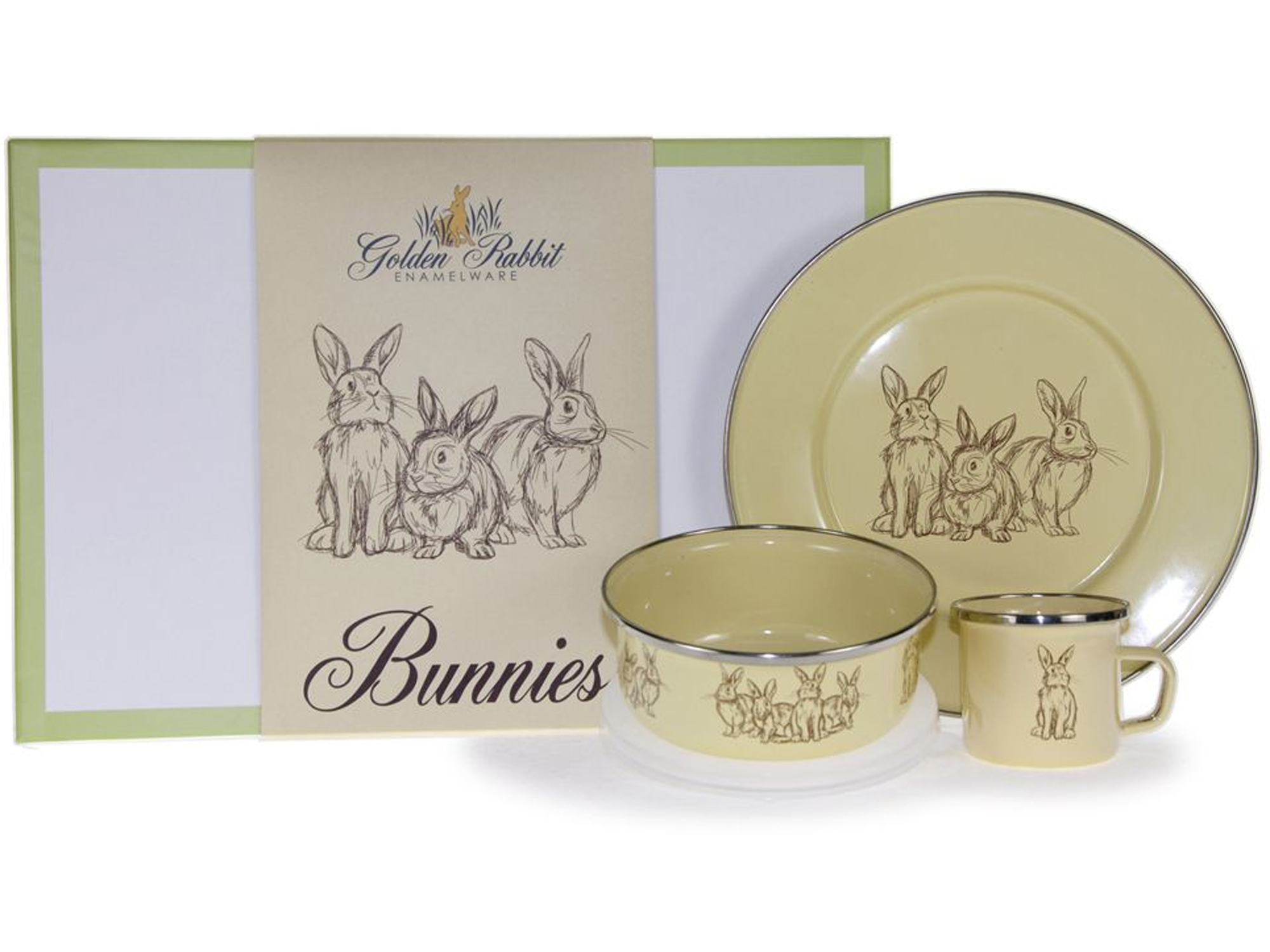 GRY99 -  Enamelware Yellow Bunnies Pattern Child Dinner Set