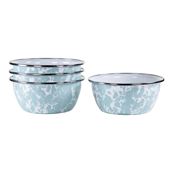 GL61S4 - Set of 4 - Enamelware Sea Glass - Salad Bowls by Golden Rabbit