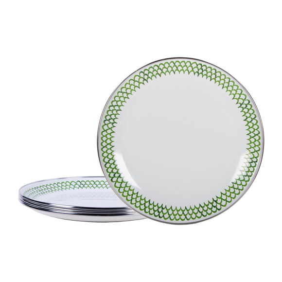 GS69S4 - Set of 4 - Green Scallop Enamelware Sandwich Plates