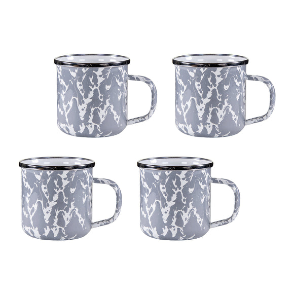 GY05S4 - Set of 4 - Grey Swirl - Enamelware Coffee Mugs