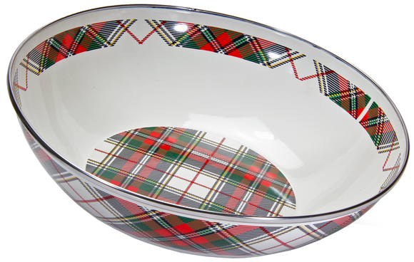 HP18- Highland Plaid Pattern -  Enamelware Catering Bowl - by Golden Rabbit