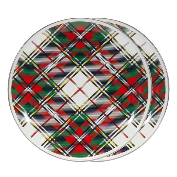 HP36S2 - Set of 2 - Enamelware Highland Plaid - Chargers by Golden Rabbit