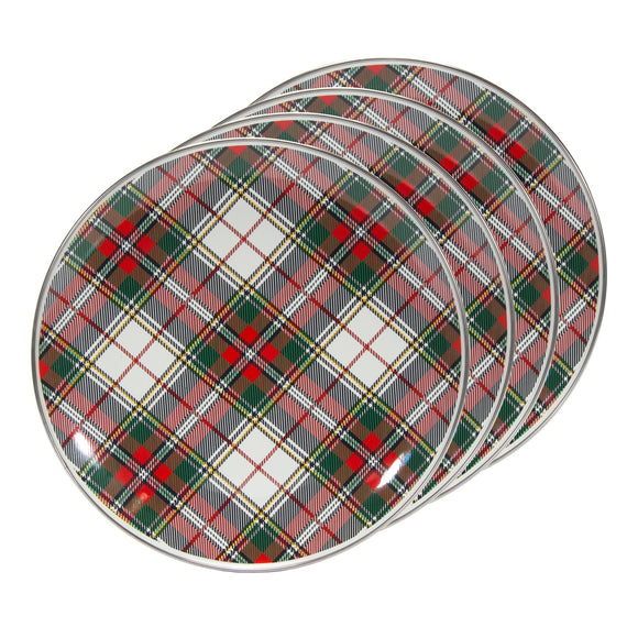 HP56S4 - Set of 4 - Highland Plaid - Enamelware - Dinner Plates by Golden Rabbit