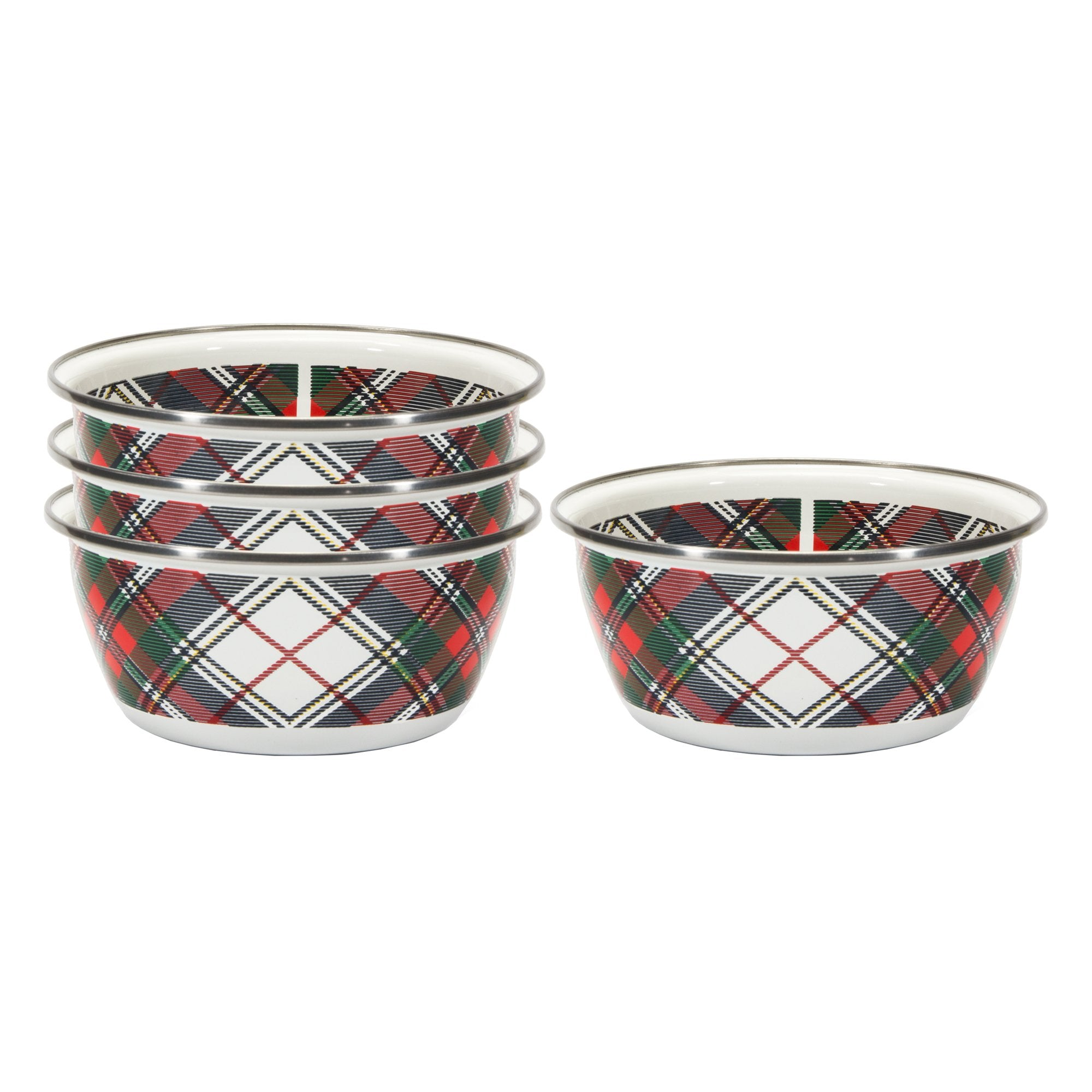 HP61 - Highland Plaid Pattern - Enamelware Salad Bowl - by Golden Rabbit