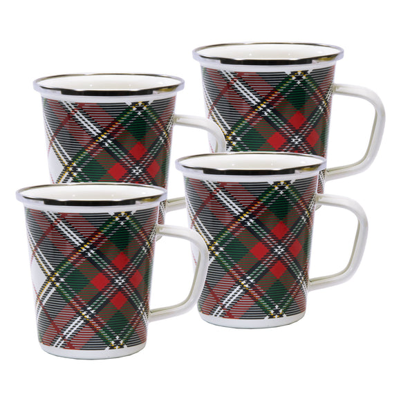 HP66S4 - Set of 4 - Highland Plaid - Enamelware - Latte Mugs by Golden Rabbit