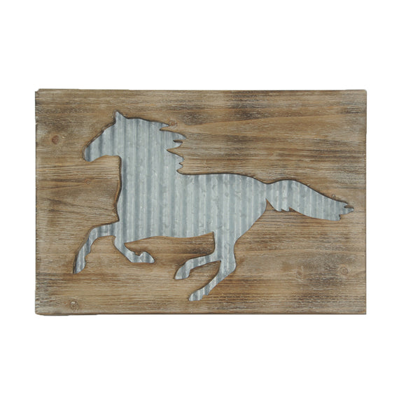 Rustic Wall Decor - Galvanized Metal Horse Wood Art by HiEnd Accents