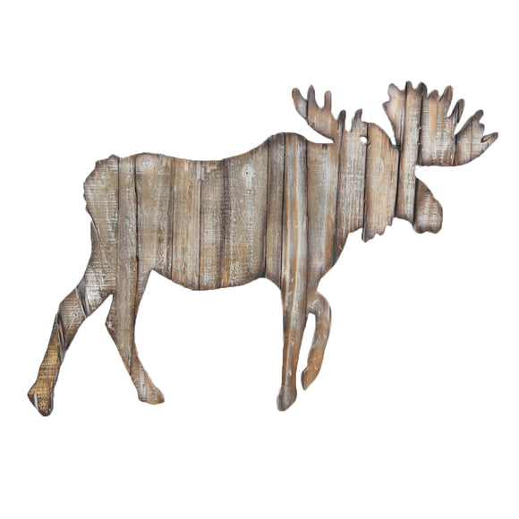 Rustic Wall Decor - Distressed Wood and Steel Moose Cut Out by HiEnd Accents