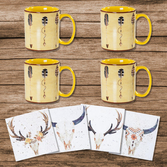 LF1753K1 - Large Arrow Bohemian Mug and Desert Skull Coaster 8 Piece Set by HiEnd Accents