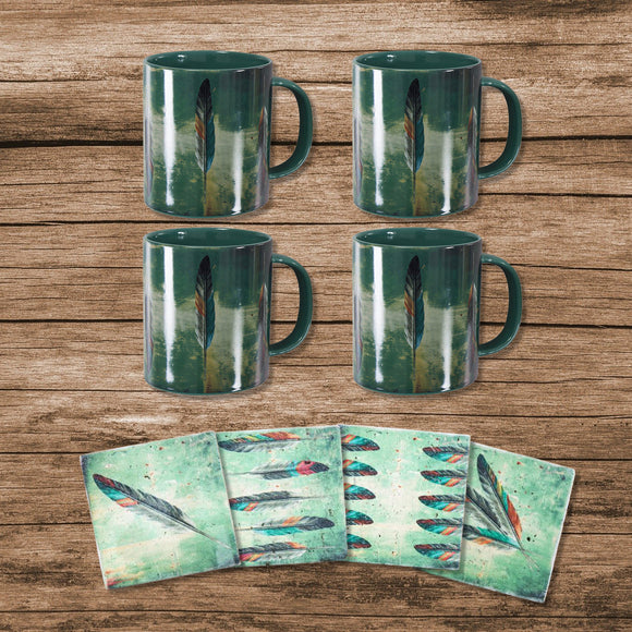 LF1754K1 - Tossed Feather Bohemian Mug and Coaster 8 Piece Set by HiEnd Accents