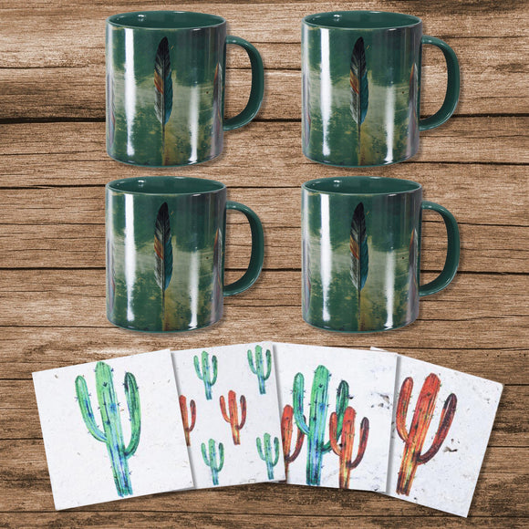 LF1754K2 - Tossed Feather Bohemian Mug and Saguaro Cactus Coaster 8 Piece Set by HiEnd Accents