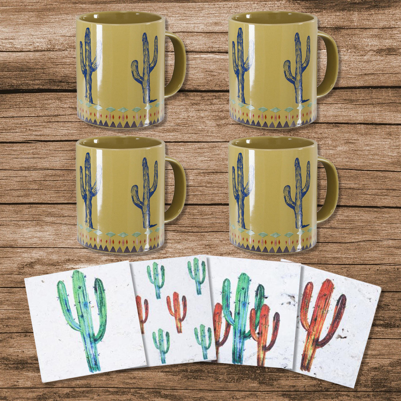 LF1756K1 - Cactus Coffee Mug and Coaster 8 Piece Set by HiEnd Accents
