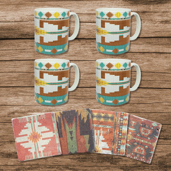 LF1813K1 - Pueblo Aztec Southwestern Mug and Coaster 8 Piece Set by HiEnd Accents