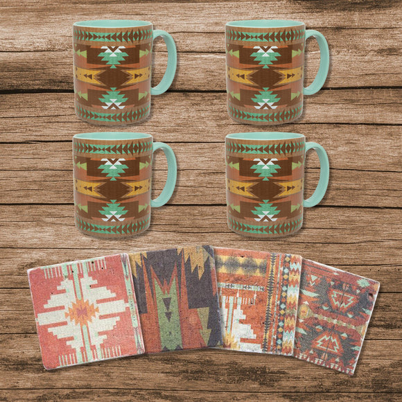LF1814K1 - Mesa Southwestern Mug and Aztec Coaster 8 Piece Set by HiEnd Accents