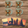 LF3005K1 - Mesa Southwestern Mug and Cowboy Sunset Coaster 8 Piece Set by HiEnd Accents