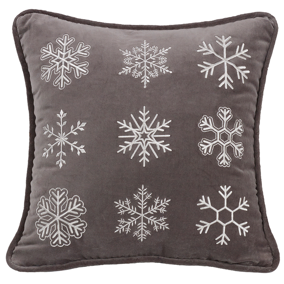 LG1895P1  Whistler Square Snowflake Pillow