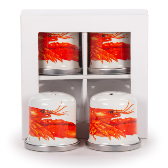 LS37- Lobster - Enamelware- Salt and Pepper Shaker by Golden Rabbit