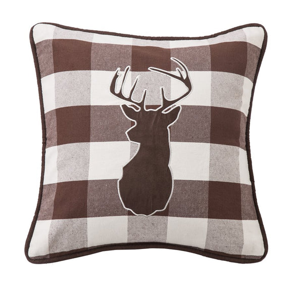 "NL1731P2 - Embroidered Deer Pillow - 18""x18""  by HiEnd Accents"
