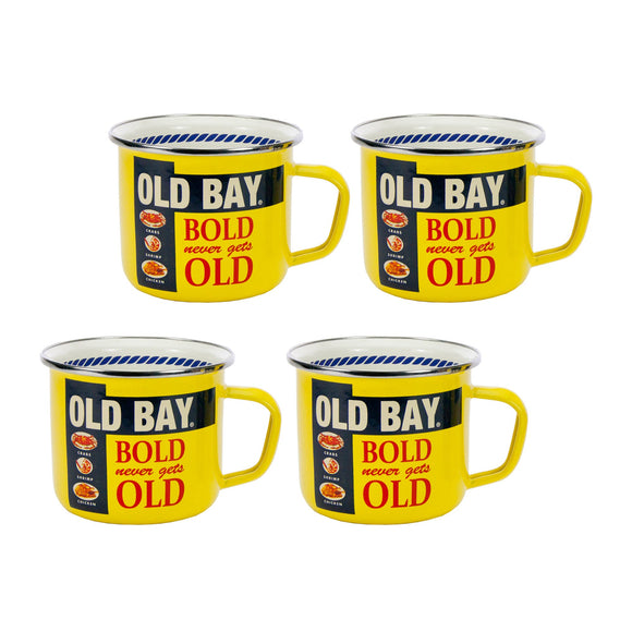 OB28S4- Set of 4 - Old Bay - Enamelware - Grande Mugs by Golden Rabbit