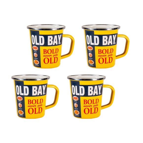 OB66S4 - Set of 4 - Old Bay - Enamelware - Latte Mugs by Golden Rabbit