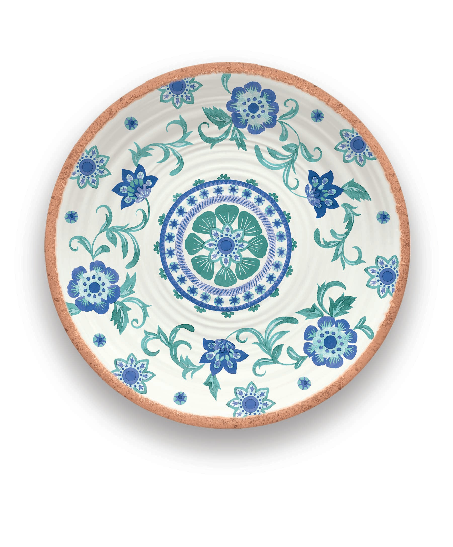 "PAN0140MPRTF - Rio - Melamine Turquoise Floral Round Platter - 14"" by TarHong"