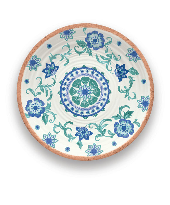 PAN0140MPRTF - Rio - Melamine Turquoise Floral Round Platter - 14