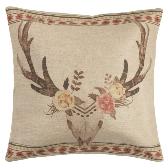 "PL1812 - Burlap Floral Skull Pillow - 22""x 22"" by HiEnd Accents"