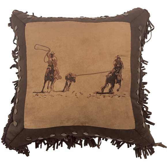 PL3114 - Embroidered Roping Pillow - Western Bedding by HiEnd Accents