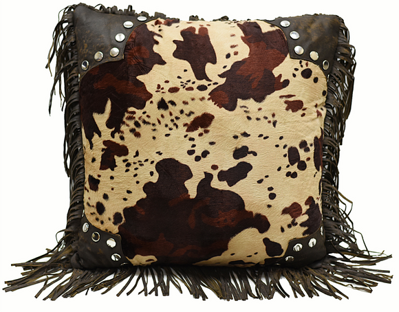 PL3116 - Faux Cowhide Fringed Pillow - Western Bedding by HiEnd Accents