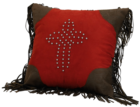 PL3120 - Red Suede Cross Pillow - Western Bedding by HiEnd Accents