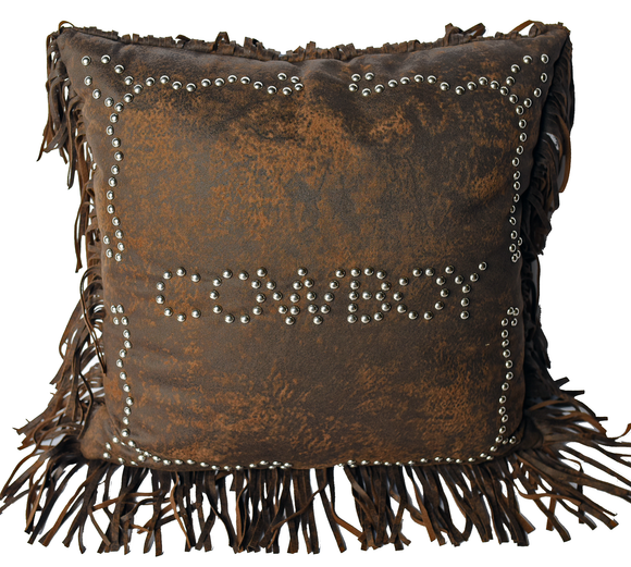 PL3121 - Cowboy Studded Pillow - Western Bedding by HiEnd Accents