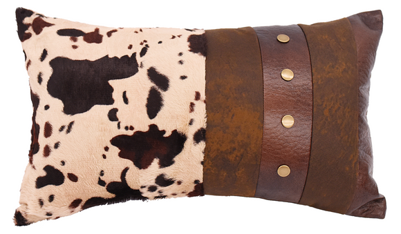 PL3126 - Faux Cowhide Oblong Pillow - Western Bedding by HiEnd Accents