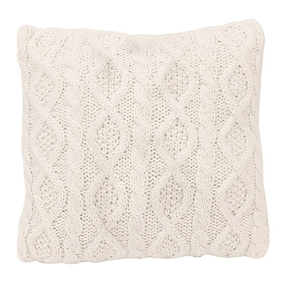 "PL5002-OS-CR - Cable Knit Pillow (Cream) - 18""x18""  by HiEnd Accents"
