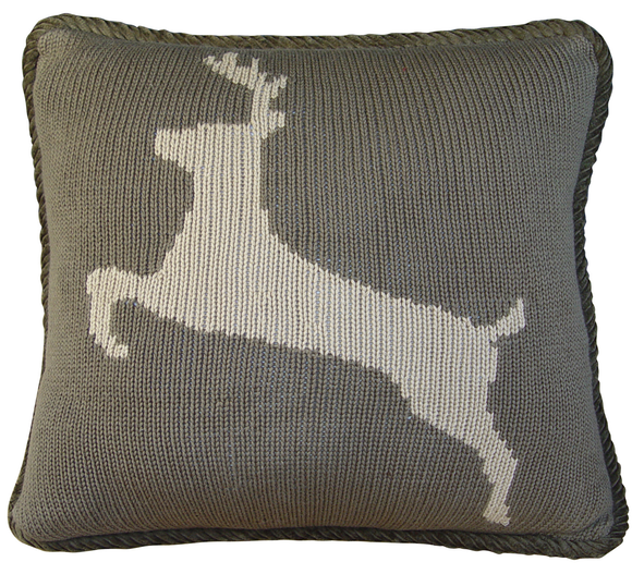 PL5002-OS-DE - Deer Knit Pillow - Western Bedding by HiEnd Accents