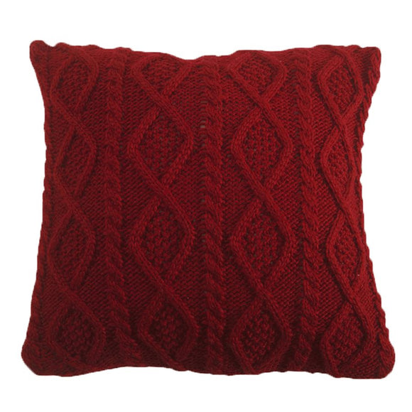 "PL5002-OS-RD - Cable Knit Pillow (Red) - 18""x 18""  by HiEnd Accents"