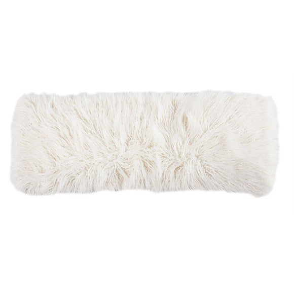 "PL5003 - White Mongolian Faux Fur Body Pillow - 14""x 36"" by HiEnd Accents"