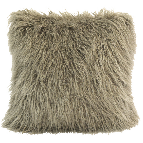 PL5003-OS-TP - Mongolian Fur Pillow (Taupe) - Bedding by HiEnd Accents