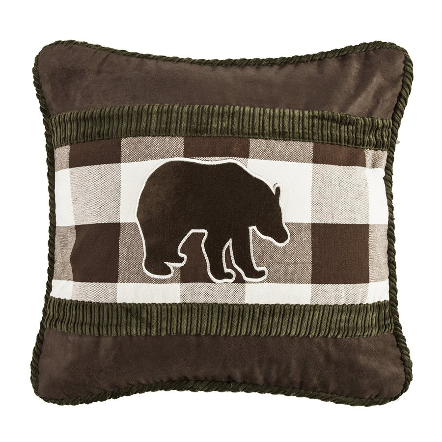 "PL5127 - Embroidered Bear Plaid Pillow - 18""x18""  by HiEnd Accents"