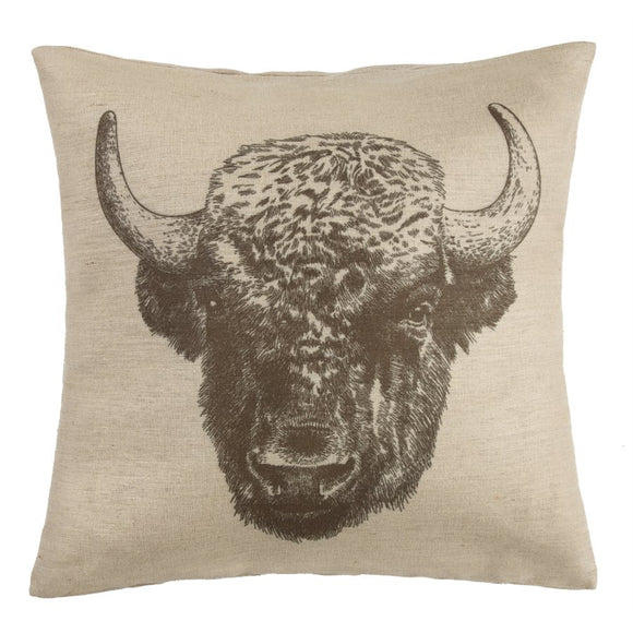 "PL1802 - Bison Buffalo Pillow - 22""x 22"" by HiEnd Accents"