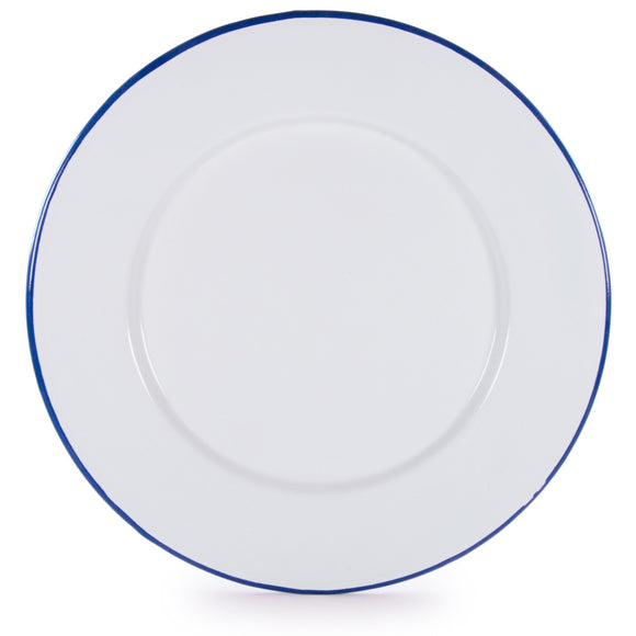 RCW91 - Glampware  Plates - White with Cobalt Blue Trim -  Set of 4