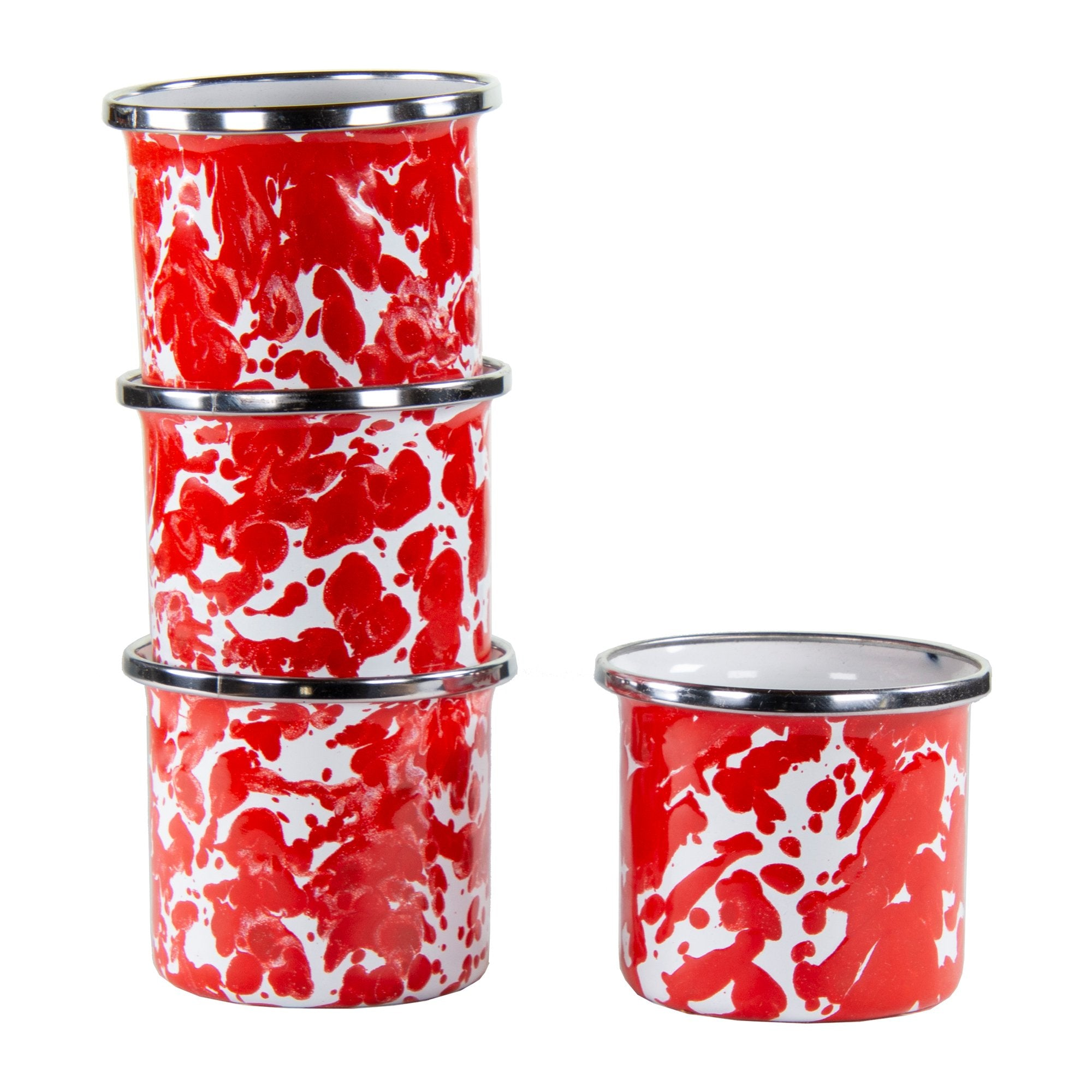 RD23S4 - Set of 4  - Red Swirl - 4 Ounce Baking Ramekins by Golden Rabbit
