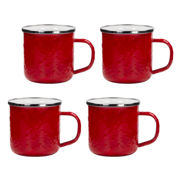 RR05S4 - Set of 4 - Solid Red - Enamelware Coffee Mugs
