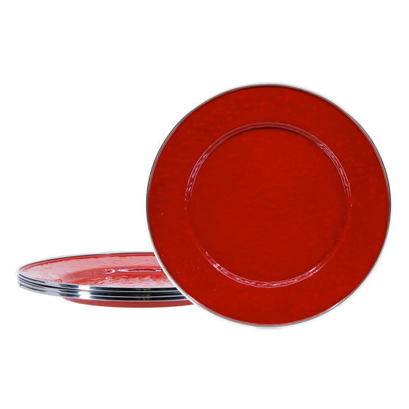 RR07S4 - Set of 4 - Solid Red - Enamelware Dinner Plates