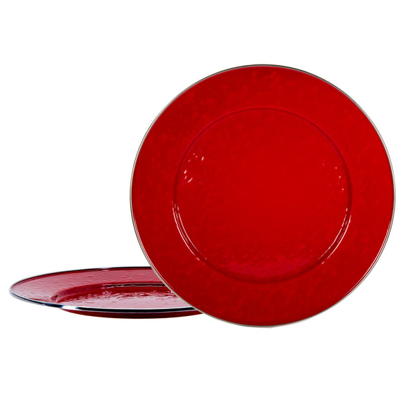 RR26S2 - Set of 2 - Enamelware Solid Red - Chargers