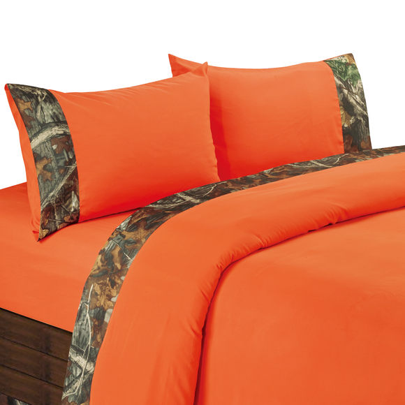 SL1001- Oak Camo Orange Sheets - Western Bedding by HiEnd Accents
