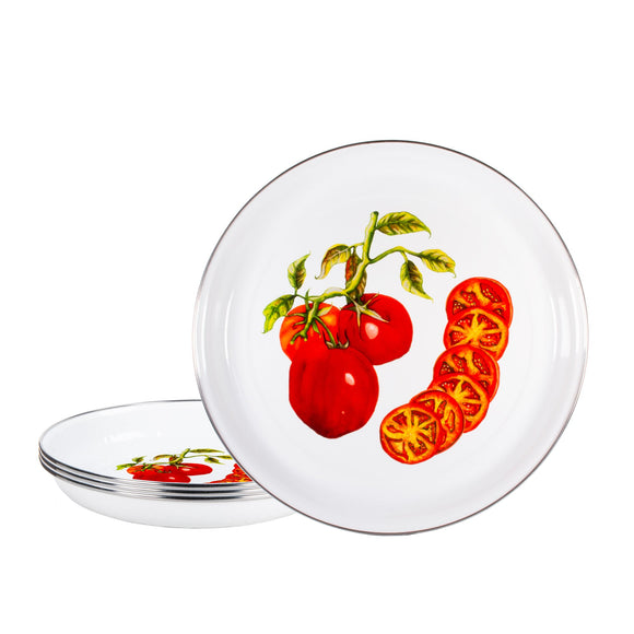 TM04 - Tomatoes Pattern - Enamelware Pasta Plate - by Golden Rabbit