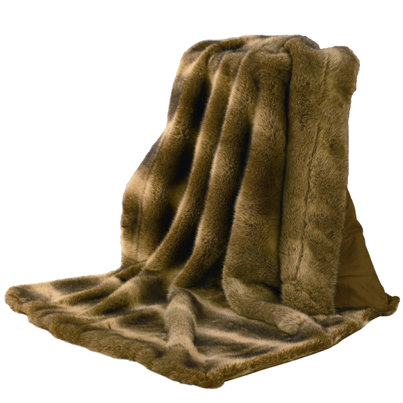TR4001- Faux Wolf Fur Throw - Western Bedding by HiEnd Accents