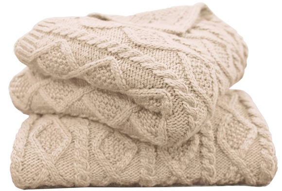 TR5002-OS-CR - Cable Knit Throw (Cream) - Lodge Bedding by HiEnd Accents