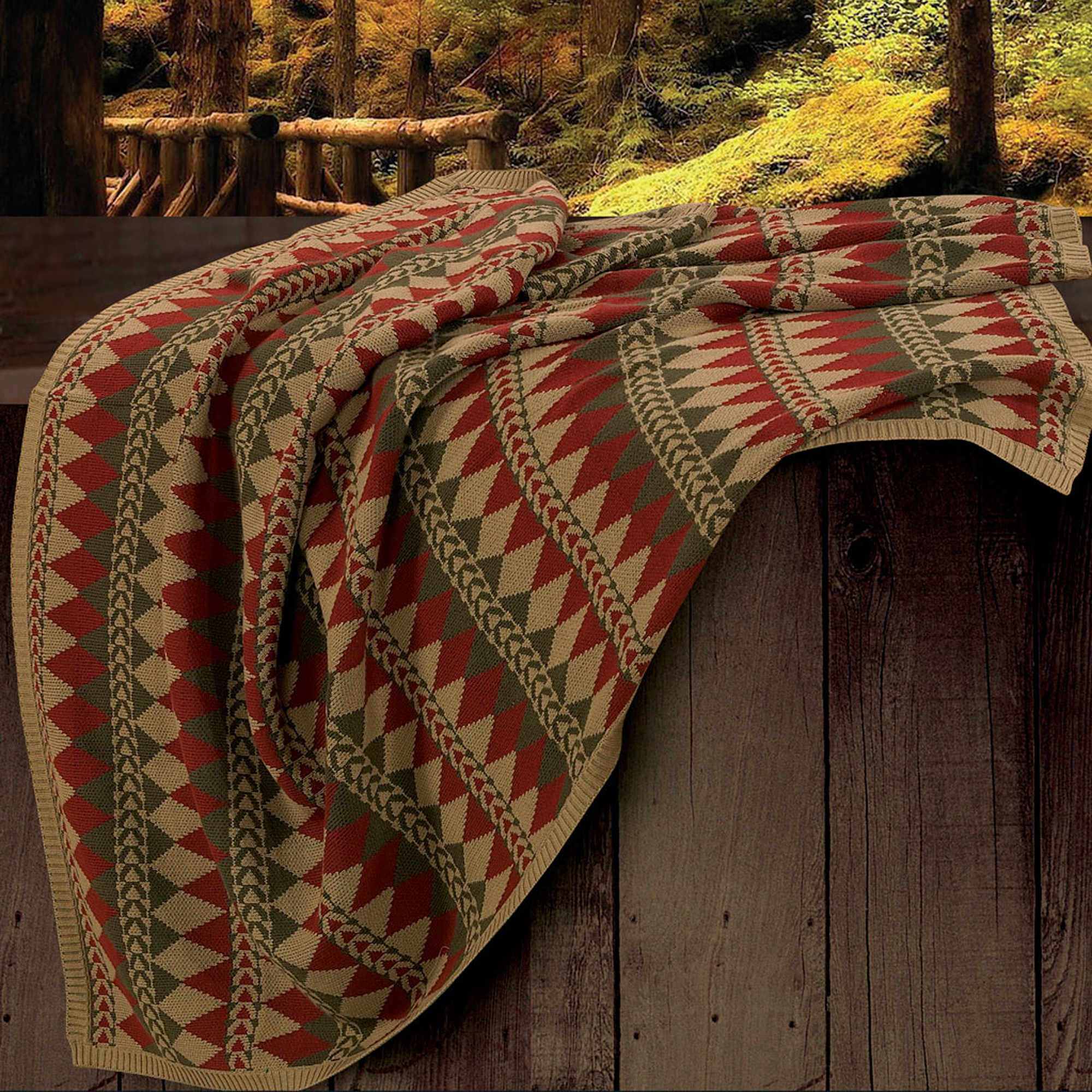 TR5002-OS-OC - Diamond Knit Throw - Western Bedding by HiEnd Accents